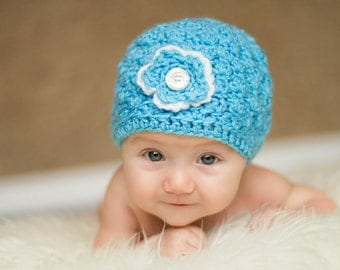 This is a cute blue baby hat