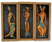 """Vintage Wall Decor Copper Middle Eastern Style Triptych - """"Galaxy"""" by Irwin - Mid Century 1950s"""