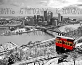 Pittsburgh's Duquesne Incline (selective color, black, white, red, three rivers)