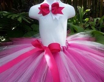 Handmade Tutu skirt, hot pink and white tutu skirt