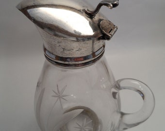Vintage Sterling and Etched glass Frank M. Whiting Syrup Pitcher Vintage Homedecor and Housewares