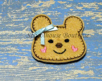 Happy Bear with bow felties, felt paper clip, badge reel, felt brooch, felt bookmark, planner clip, felt hair clip, key chain