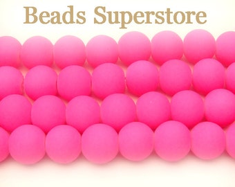 SALE CLOSEOUT 8 mm Fluorescent Neon Pink Glass Round Bead - 50 pcs