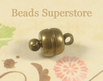 11 mm x 7 mm Antique Brass Magnetic Clasp - Nickel Free and Lead Free - 4 sets