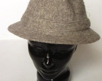 Vintage Men's Wool Herringbone Fedora Hat-JJ Seifter & Sons NY Winter Cap Heather Brown Herringbone