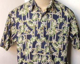 Vintage Hawaiian Print Shirt 90's Tropical Navy Blue Cream and Green Print -Short Sleeve Tropical Flowers, Bamboo & Philodendron Leaves