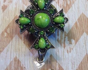Lime green cross retractable badge reel