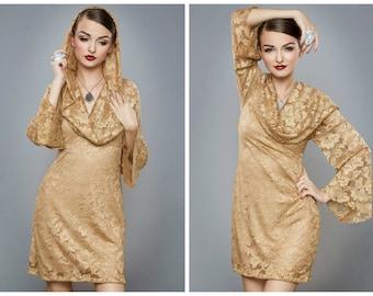 Gold Lace Dress, Gold Lace Bell Sleeve Dress, Gold Lace Cowl Dress, Lace Bell Sleeve Dress, Boho Wedding Dress, Boho Lace Dress