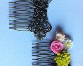 4 pcs Hair Comb,Antique Bronze Flower Hair Comb,brass hair comb filigree hair comb,bridal hair comb,hair accessories,hair finding