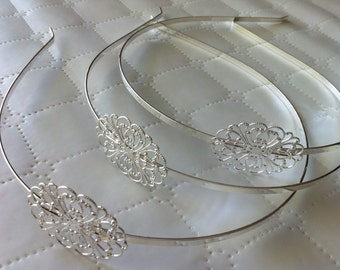 2 pcs Head Bands, silver, filligree headband ,silver hair band, perfect for resin cabochon.silver headband, silver findings, head band