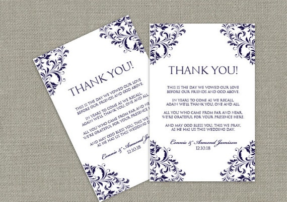 Wedding Thank You Table Card Template DOWNLOAD By