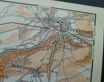 Antique map of Rochefort area - 1910 old print about Hamerenne Han-sur-Lesse Belvaux Belgium Belgique België 10x16cm/4x6''