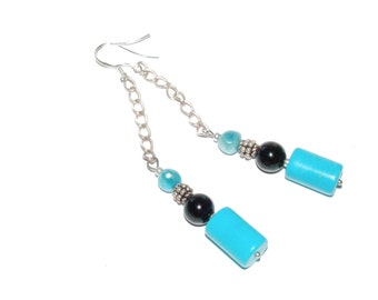 long Turqouise Earrings - chain earrings - Sterling silver - Onyx - turquoise freshwater pearl -