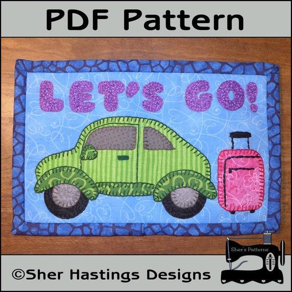 pdf pattern for travel mug rug travel bug mug rug pattern car mini quilt pattern sewing. Black Bedroom Furniture Sets. Home Design Ideas
