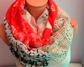Flowery Infinity Scarf Red Scarf Shawl Lace Scarf Circle Women Scarf Loop Scarf