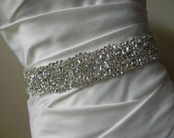 Rhinestone Bridal Sash with Flower Design - Wedding Dress Belt