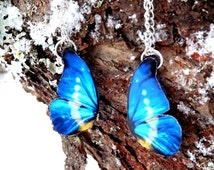 Blue butterfly wing Friendship necklace, Best Friend necklace, Butterfly necklace, Butterfly jewelry, Insect jewelry, Free Shipping