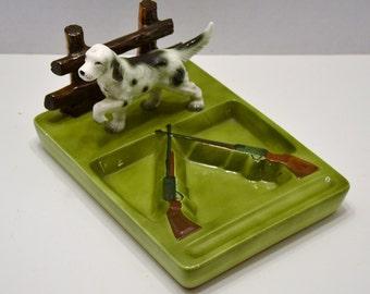 Vintage Ceramic Desk Organizer Hunter Dog Rifle Green PanchosPorch
