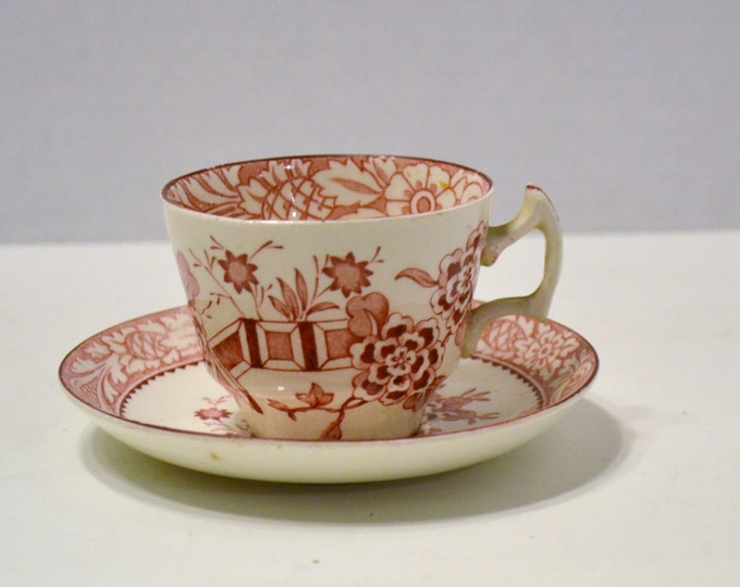 Vintage Wood & Sons Cup and Saucer Red Made in England PanchosPorch