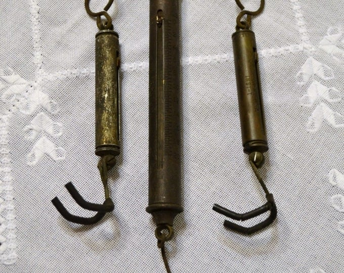 Vintage Chatillon Hand Held Scale Set of 3 Brass 4 lb 10 lb 20 lb Rustic Vintage Decor PanchosPorch