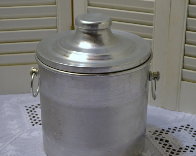 Vintage Brushed Aluminum Ice Bucket Made in Italy Mid Century Panchosporch