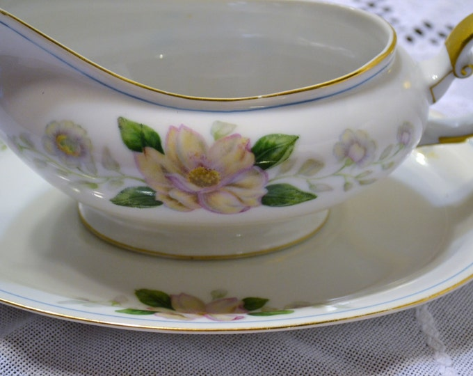 Vintage Grace China Rochelle Gravy Boat and Underplate Occupied Japan White Pink PanchosPorch
