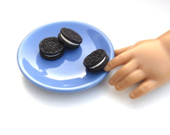 Oreo Inspired Chocolate Sandwich Cookies (3)  -  Handmade Gourmet Doll Food For Your American Girl Doll