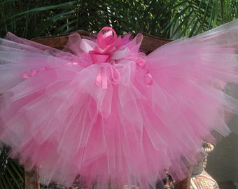Girls Pink  Princess Tutu Sewn and Hand Cut Includes Bow