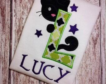 Halloween Cat Applique Shirt