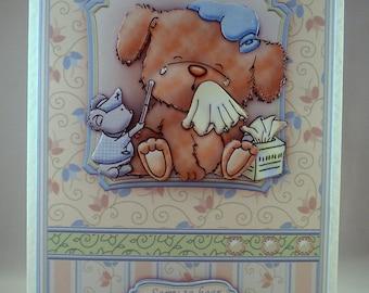 Handmade Decoupage,3D Cute Dog, Get Well Greetings Card.