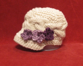 Knitted Baby girl Hat  Purple Flowers