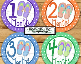 Flipflops Hawaiian Baby girl Monthly stickers Baby Shower Gift Infant age Milestone stickers Month to Month Tropical Aloha bodysuit stickers