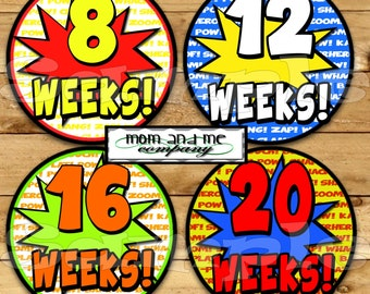 14 Super hero Pregnancy Stickers Belly Stickers Weekly Stickers Pregnancy Photo Prop Belly Bump Stickers Maternity Stickers Includes bonus