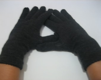Gloves Knitted Dark Gray Accessory Woman