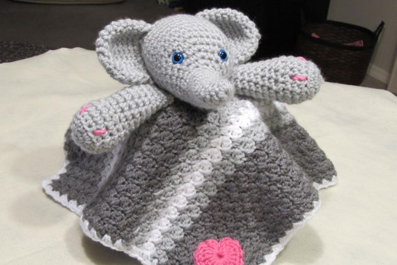Crocheted Elephant Baby Lovey Blanket by SharonAnnCreations