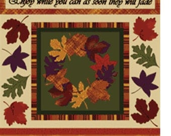 Rustling Leaves Panel  in Sage Multi - Cotton Quilt Fabric - from Benartex Fabrics (W649)