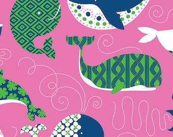 Half Yard True Blue - Whales in Dark Pink - Cotton Quilt Fabric - Kid's Nautical Fabric designed by Ana Davis for Blend Fabrics (W1844)
