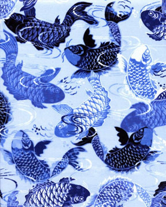 Remnant harmony koi in pond blue 14 x wof by warmkittyquilts for Koi fish print fabric