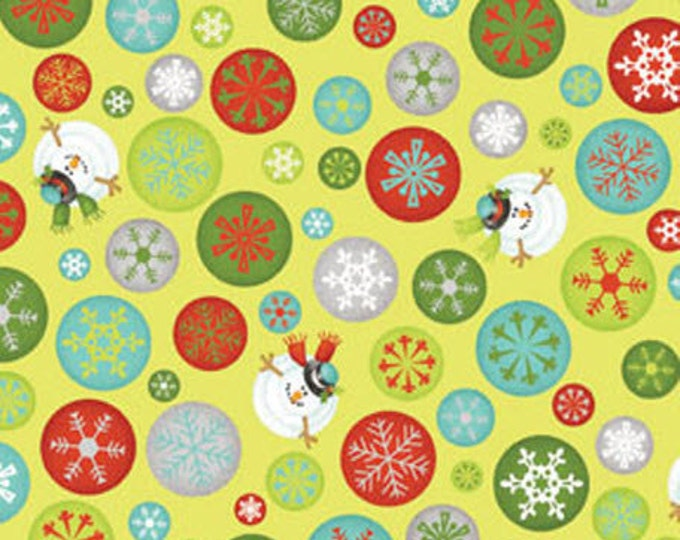 "REMNANT!! Ho-Ho-Ho Let It Snow - Drifting Snow Flakes in Lime Green - 19"" x WOF - Cotton Fabric Line By Nancy Halvorsen for Benartex (W975)"
