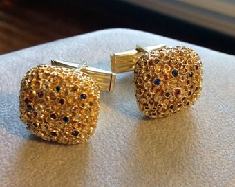Solid 14K Gold Custom-Made Cuff Links with Rubies Sapphires
