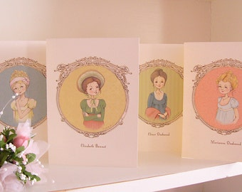Assorted A6 Notecards - Ladies of Jane Austen Illustration, set of 8, Stationary Set