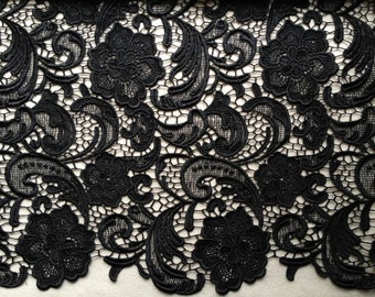 Elegant Venice Embroidered Lace Fabric in Black for Wedding Lace Bridal Dress Fabric French Guipure Lace Fabric