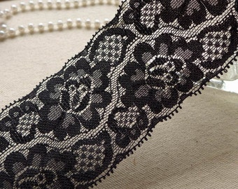 "2.2"" wide Black Stretch Lace Trim, Floral Elastic Lace, Headbands, Wedding garters, Lingerie Lace 2 Yards"
