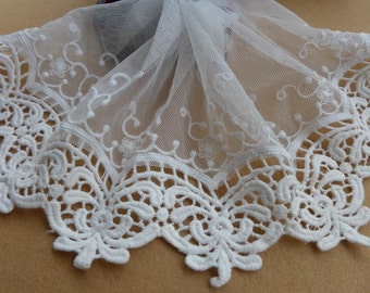 """Off white Embroidered Lace Vintage Cotton Lace Trim Soft Tulle Lace Fabric 5.51"""" wide ONE YARD"""