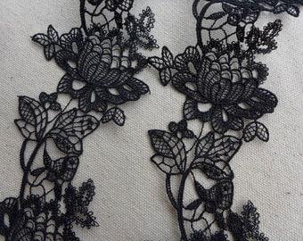 Delicate Black Venice Lace with Rose Applique for Weddings, Headbands, Sash, Appliques lace, Garments