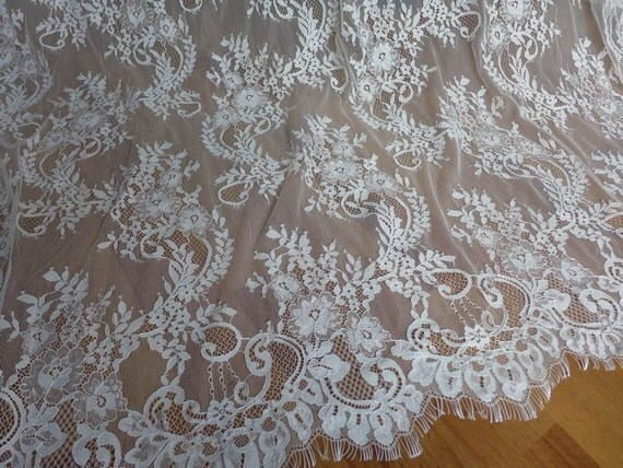 CHANTILLY Fabric Unique White Wedding Dress Lace Fabric For