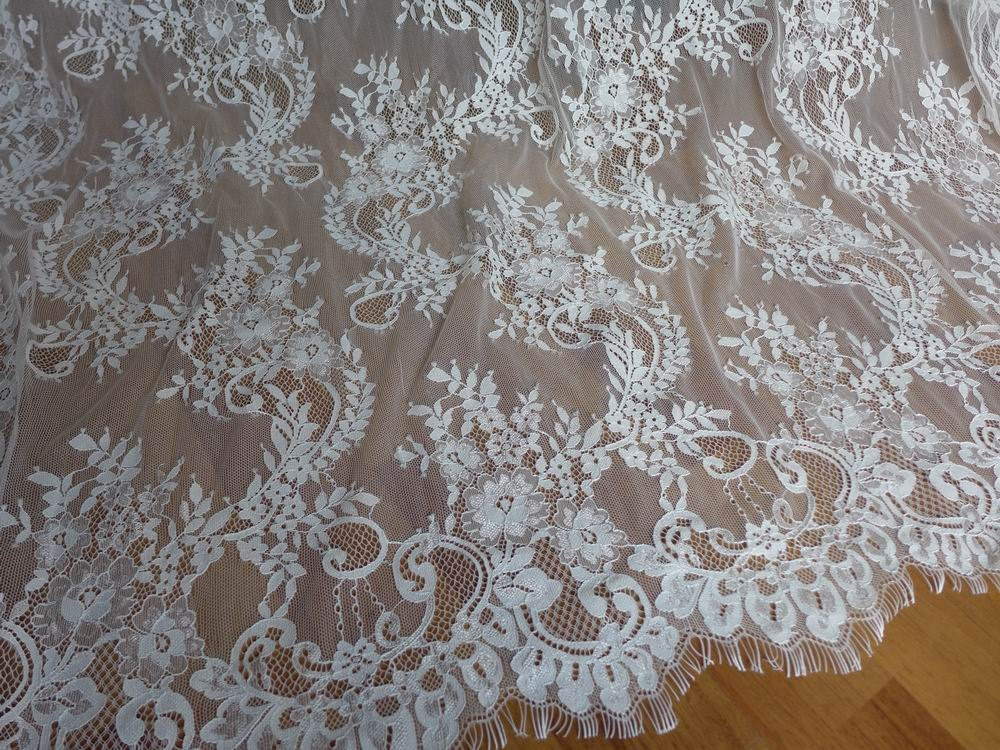 Chantilly fabric unique white wedding dress lace fabric for Wedding dress material online