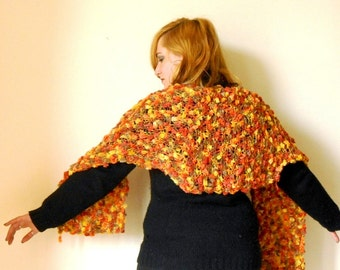 knit shrug stole, handknitted shawl in rust orange, knit shawl