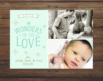 Wonders of His Love 5x7 2-Photo Christmas Card