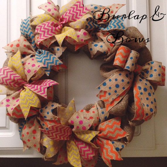 Spring summer colorful burlap wreath by thelittlechandelier for Colorful summer wreaths